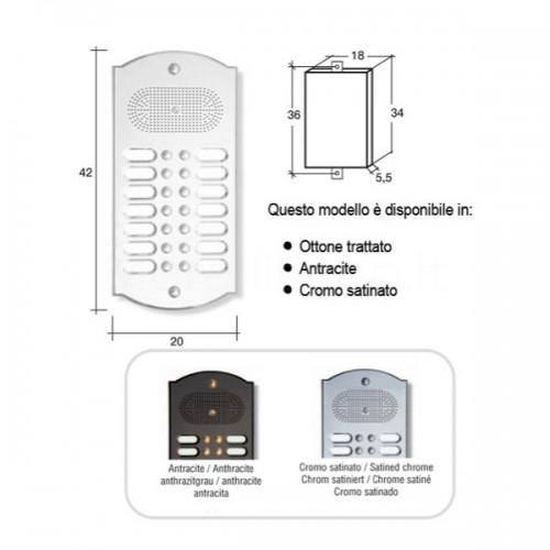 Citofono campanello 14 NOMI Mod. 14PLMORO/CPT ottone Alta Qualità Morelli