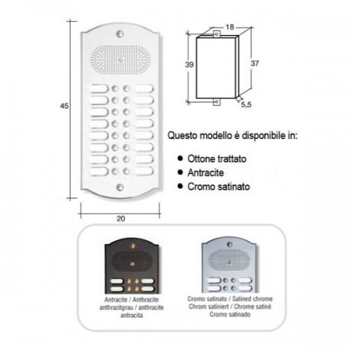 Citofono campanello 16 NOMI Mod. 16PLMORO/K ottone cromo satinato Alta Qualità Morelli