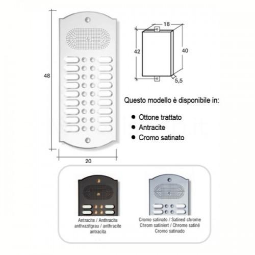 Citofono campanello 18 NOMI Mod. 18PLMORO/K ottone cromo satinato Alta Qualità Morelli
