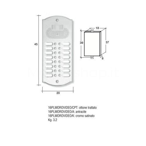 Videocitofono campanello 16 NOMI antracite base ottone Alta Qualità Morelli