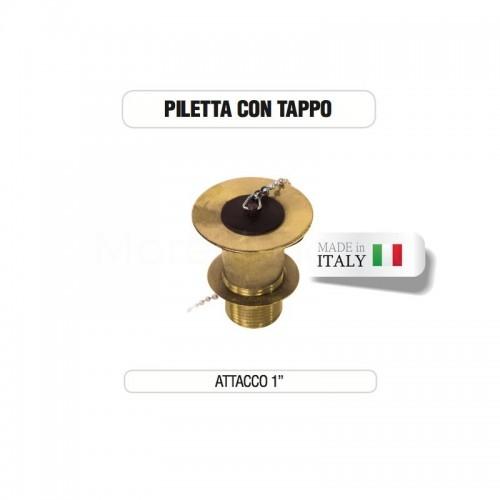 """Piletta in ottone da 1"""" completa di tappo - Morelli"""