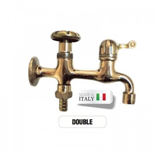 Rubinetto doppio ottone DOUBLE portagomma attacco rapido Morelli