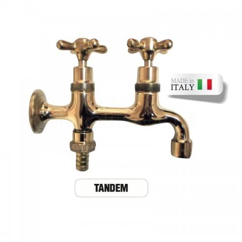 Rubinetto doppio ottone TANDEM con portagomma attacco rapido Morelli
