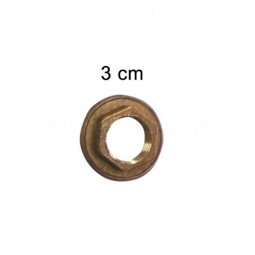 """Controdado in ottone con flangia diam. 3 cm 3/8""""F Morelli"""