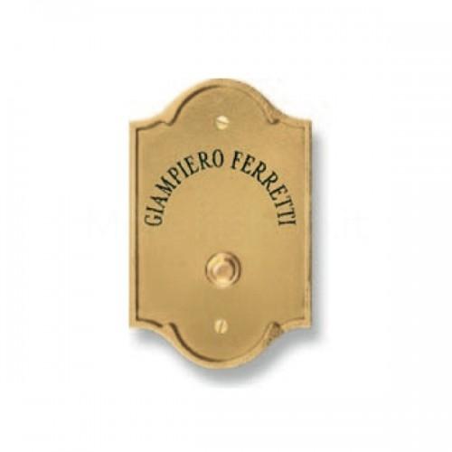 Pulsante campanello in ottone con incisione verticale Serie Perla Morelli