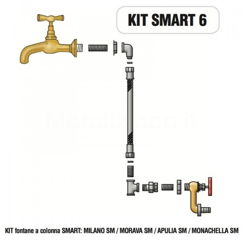 Kit raccorderia interna con Rubinetti per fontana a colonna SMART Morelli - KIT SMART 6