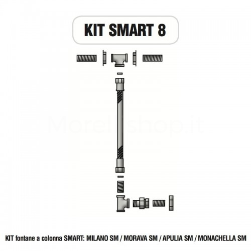 Kit raccorderia interna con Rubinetti per fontana a colonna SMART Morelli - KIT SMART 8
