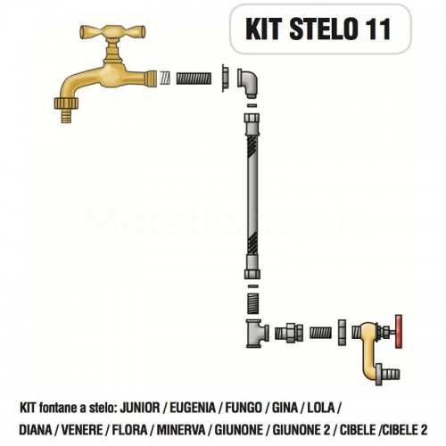 Kit raccorderia interna con Rubinetti per fontana a colonna STELO Morelli - KIT STELO 11