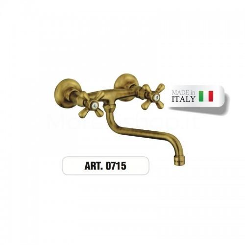 Rubinetto doppioforo ottone a muro gruppo lavello  ART.0715 Morelli
