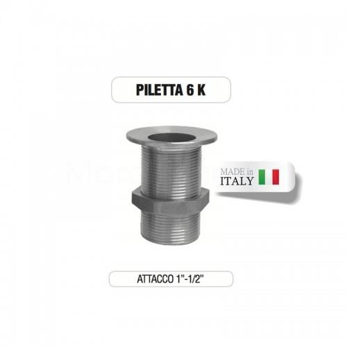 """Piletta cromata 1"""" e 1/2"""" senza tappo su base di ottone Morelli"""