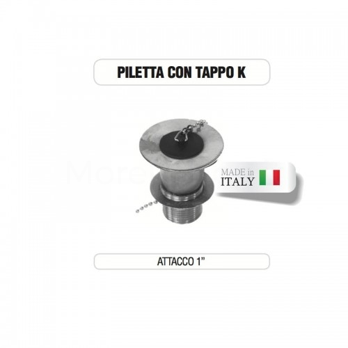 """Piletta cromata 1"""" con tappo su base di ottone Morelli"""