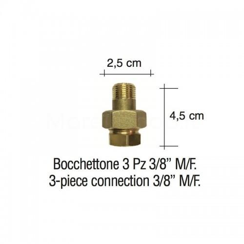 """Bocchettone 3 pz. 3/8"""" M/F"""