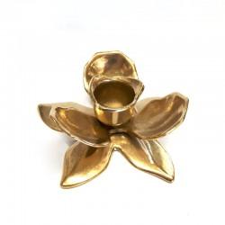 Porta candela bugia fior di loto in ottone