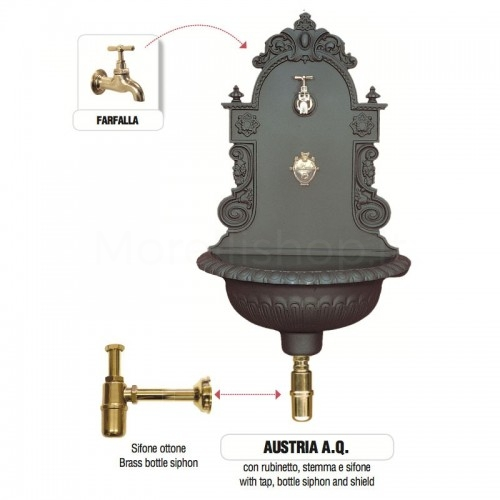 Fontana a muro in ghisa Mod. AUSTRIA AQ Morelli - Fontana giardino