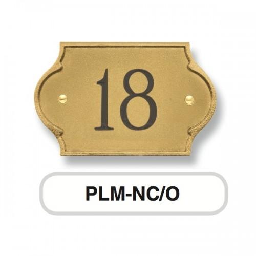 Numero Civico ottone Mod. PLM-NC/O Morelli su lastra di ottone