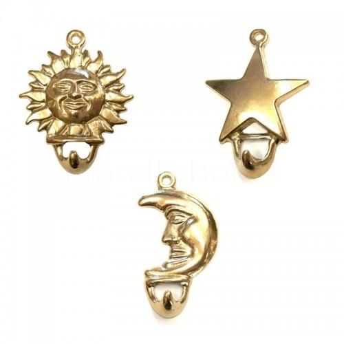 Tris di Ganci appendino in ottone naturale a forma di Luna, sole e Stella