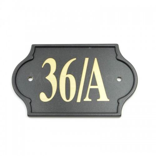 Numero Civico antracite già inciso 36/A - Mod. PLM-NC/A Morelli su lastra di ottone
