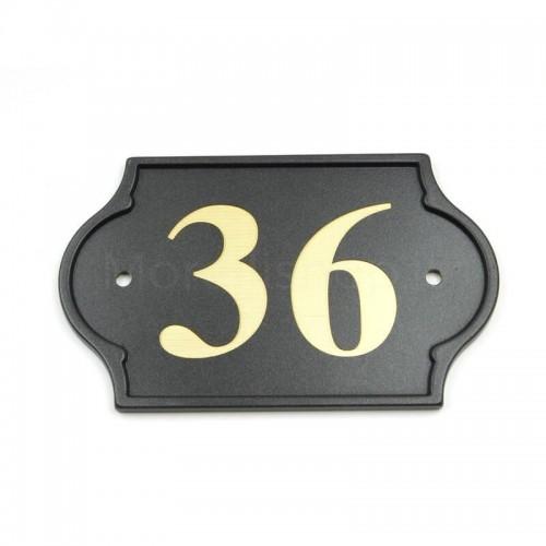 Numero Civico antracite già inciso 36 - Mod. PLM-NC/A Morelli su lastra di ottone