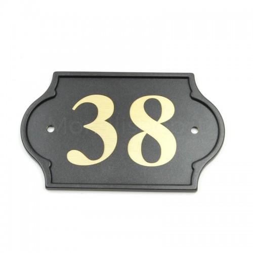 Numero Civico antracite già inciso 38 - Mod. PLM-NC/A Morelli su lastra di ottone