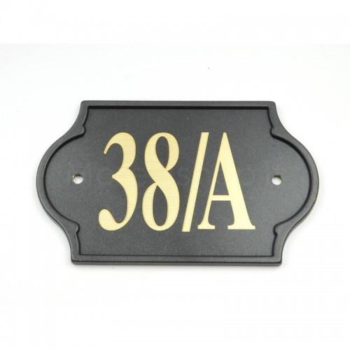 Numero Civico antracite già inciso 38/A - Mod. PLM-NC/A Morelli su lastra di ottone