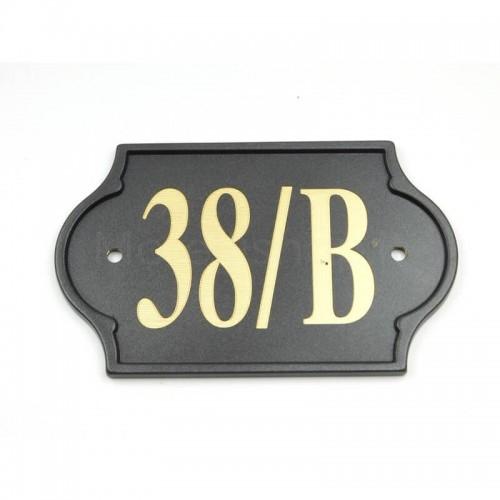 Numero Civico antracite già inciso 38/B - Mod. PLM-NC/A Morelli su lastra di ottone