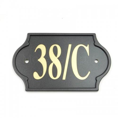 Numero Civico antracite già inciso 38/C - Mod. PLM-NC/A Morelli su lastra di ottone