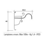 Lampione Solo Braccio per Mod. SATURNIA e SATURNIA 2 ferro battuto Morelli - Arredo giardino