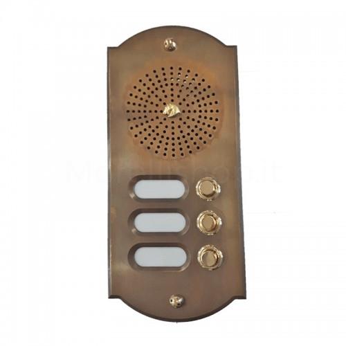 Citofono campanello 3 NOMI Mod. 3PLMORO/CPT ottone BRUNITO Alta Qualità Morelli - PEZZO UNICO