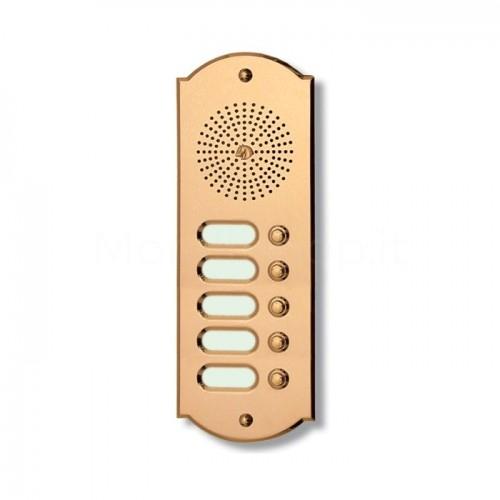 Citofono campanello 5 NOMI Mod. 5PLMORO/CPT ottone Alta Qualità Morelli