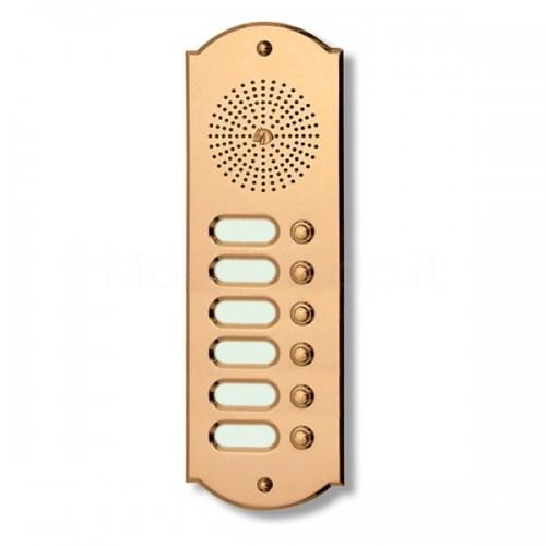 Citofono campanello 6 NOMI Mod. 6PLMORO/CPT ottone Alta Qualità Morelli