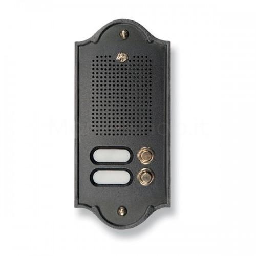 Citofono campanello 2 NOMI antracite base ottone Serie Perla Morelli