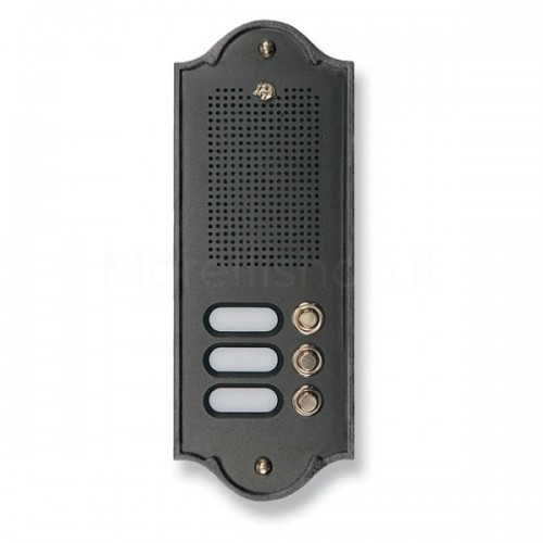Citofono campanello 3 NOMI antracite base ottone Serie Perla Morelli