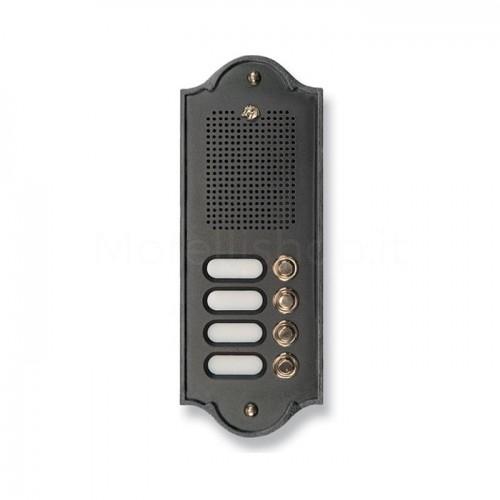 Citofono campanello 4 NOMI antracite base ottone Serie Perla Morelli