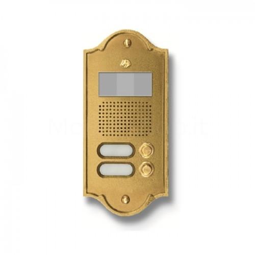 Pulsantiera per videocitofono ottone lucido 2 NOMI Mod. 2PLMVIDEO/O Serie Perla Morelli
