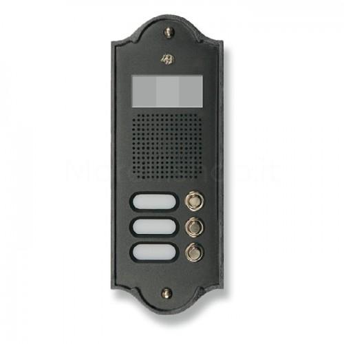 Pulsantiera per videocitofono antracite 3 NOMI Mod. 3PLMVIDEO/A Serie Perla Morelli