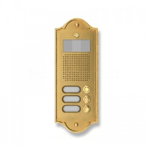 Pulsantiera per videocitofono ottone lucido 3 NOMI Mod. 3PLMVIDEO/O Serie Perla Morelli
