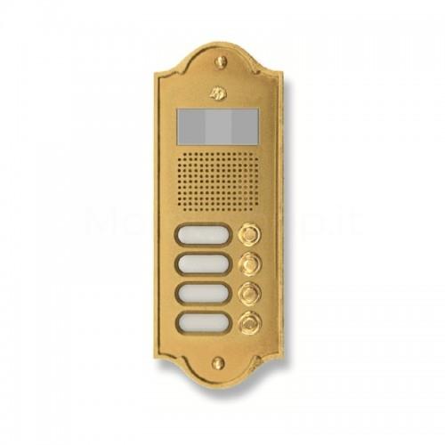 Pulsantiera per videocitofono ottone lucido 4 NOMI Mod. 4PLMVIDEO/O Serie Perla Morelli