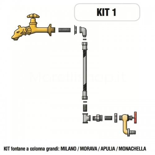 Kit raccorderia interna con Rubinetti per fontana a colonna Morelli - KIT1