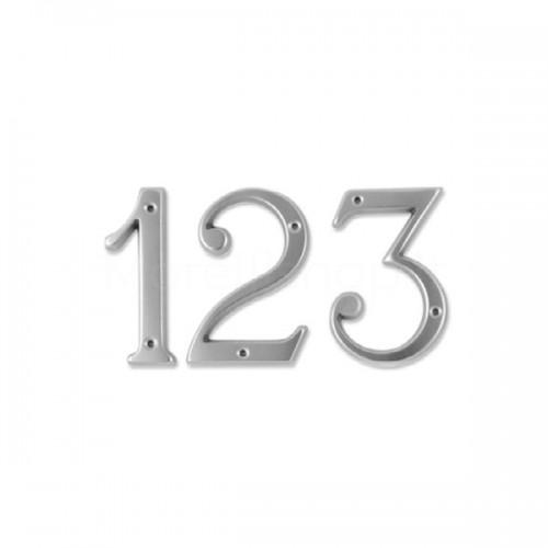Numero Civico 12 cm ottone Cromato Satinato - Morelli