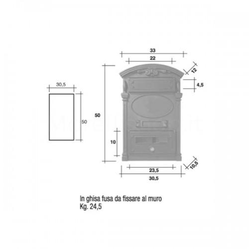 Cassetta postale Mod. DPD/RVS Morelli a muro in ghisa