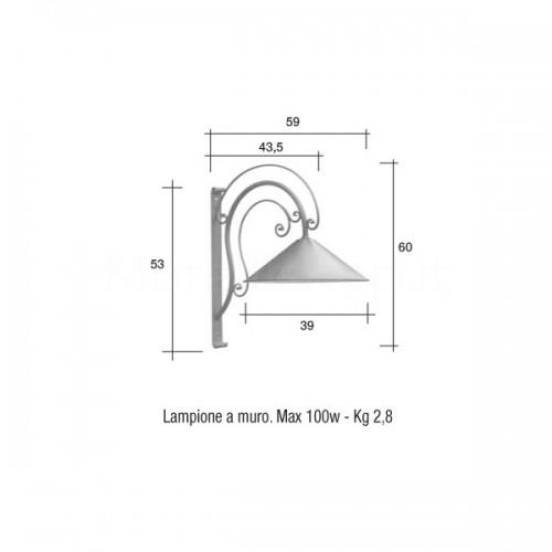 Lampione Mod. muro giardino VEIO 2 ferro battuto Morelli - Arredo giardino